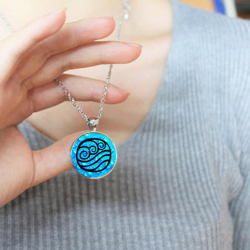 Avatar The last airbender Necklace Avatar Water tribe Pendant Glass Cabochon Necklace