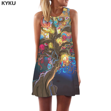 KYKU Brand Psychedelic Dress Women Colorful Beach Art Ladies Dresses Tree Mini Cartoon Party Womens Clothing Summer Wrap