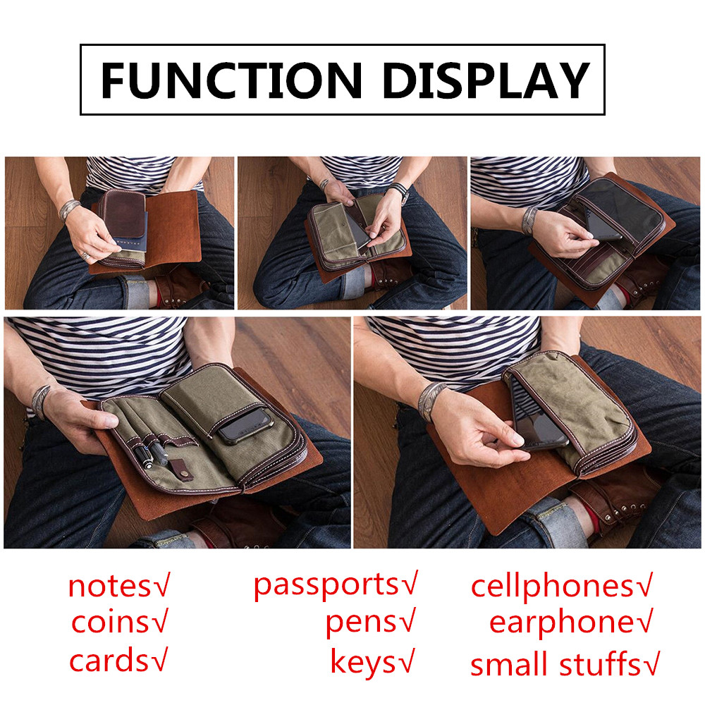 กระเป๋าสตางค์ผู้ชายหนังแท้กระเป๋าคลัทช์ Vintage Handmade ยาวกระเป๋าสตางค์กระเป๋าเดินทางขนาดใหญ่กระเป๋าสตางค์ผู้ถือบัตรเหรียญกระเป๋า-ใน กระเป๋าสตางค์ จาก สัมภาระและกระเป๋า บน   3
