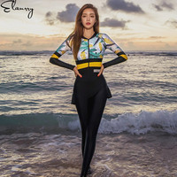 2018 Newest Sport Swimsuit Long Sleeves Print One Piece Surfing Suits Plus Size Swim Skirt Padded Ladies Beach Wear Rashguards