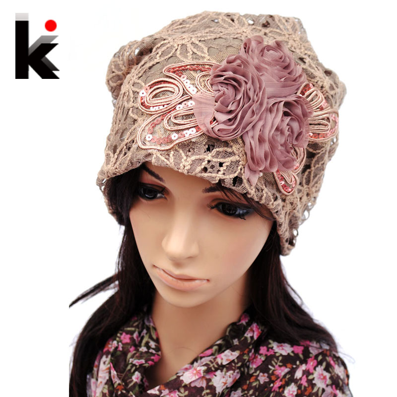 Women's Beanie Pilecap Female Spring And Autumn Lace Thin Pocket Cutout Mesh Hat Month Of Cap Toe Cap Turban Hat Covering