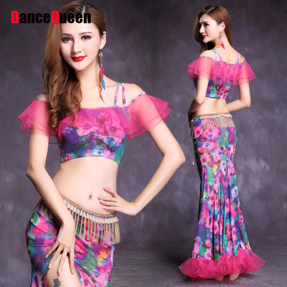 Women Belly Dancing Costumes(Tops+Skirts) Purple Blue Yellow Clothe Nice Ladies Party Professional Ballroom Dance Clothes 10343