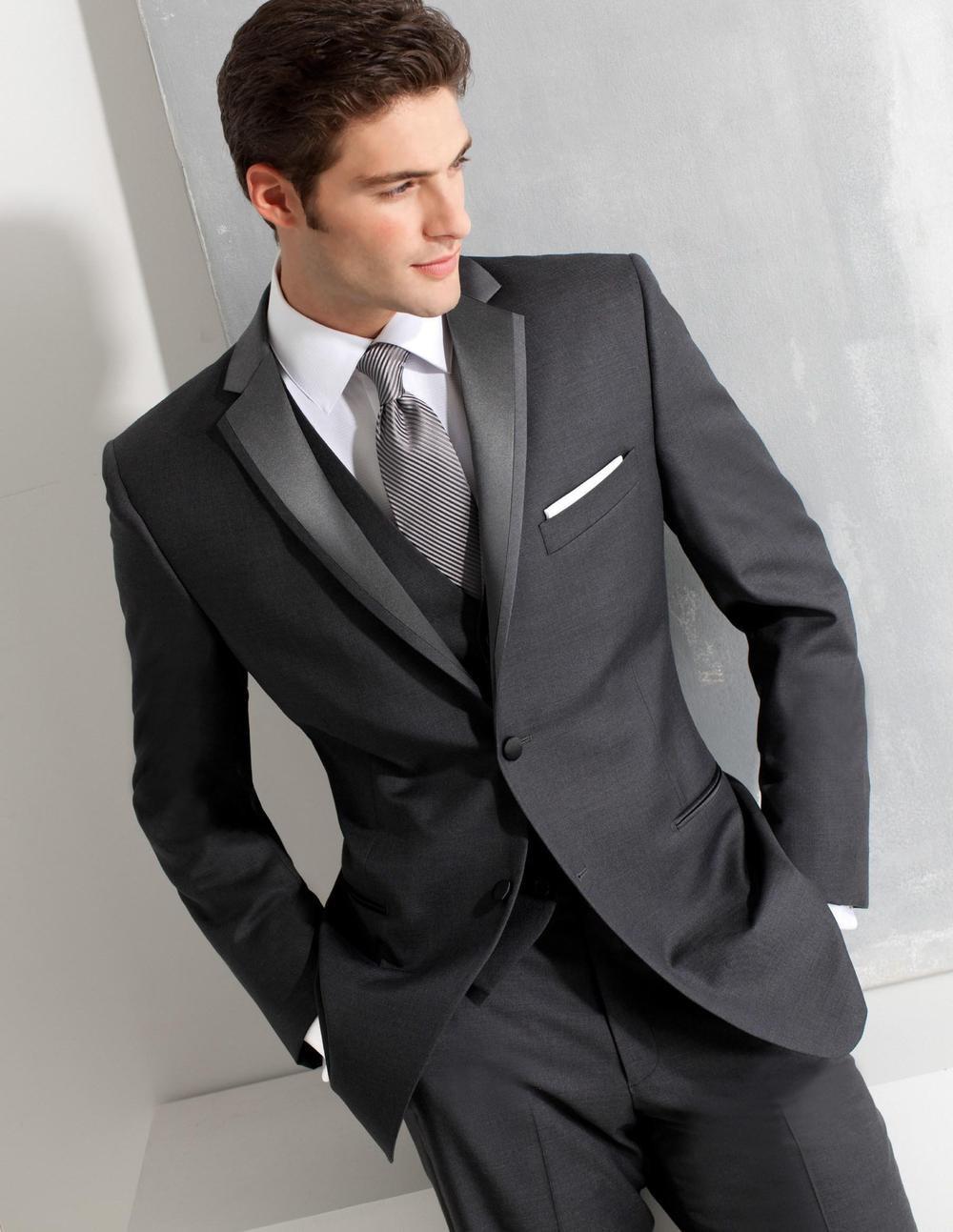 Custom Made Groom Tuxedos Grey Formal Wear Wedding Suits Groomsman/Bridegroom Best Man Suits Wholesale ( Jacket+Pants+Vest )