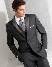 Por Encargo Del Novio Esmoquin Gris Ropa Formal Trajes de Boda Del Padrino de boda/Novio Mejor Hombre de los Trajes Trajes Al Por Mayor (Jacket + Pants + Vest)