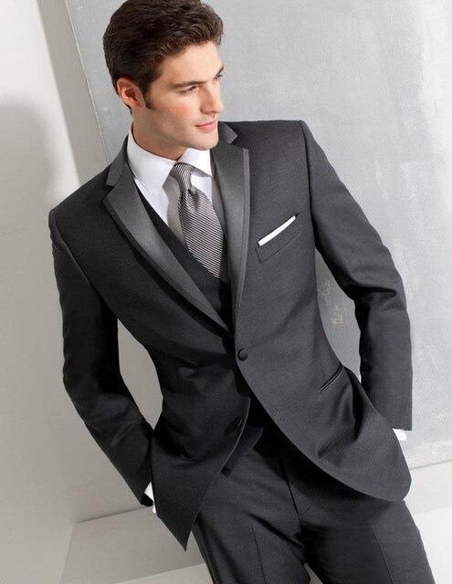 Custom Made Noivo Smoking Cinza Desgaste Formal Ternos de Casamento Padrinho de casamento/Noivo Melhor Homem Ternos Por Atacado (Jacket + Pants + colete)