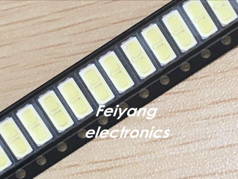100 шт. для <font><b>LG</b></font> innotek <font><b>LED</b></font> Подсветка 1 Вт 7030 6 В холодный белый ТВ Применение SMD 7030 холодный белый 100-110lm 7.0*3.0*0.8 мм