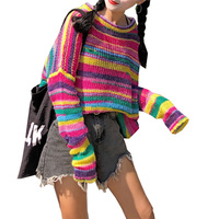 2018 Autumn ulzzang thin section New striped rainbow loose knit top Korean pop Harajuku casual pullover Hole women sweater