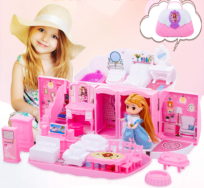 DIY Doll House Dollhouse Toys Foldable Kitchen Room Villa House Have Music Exquisite Handbag For Children Girl Birthday Gifts