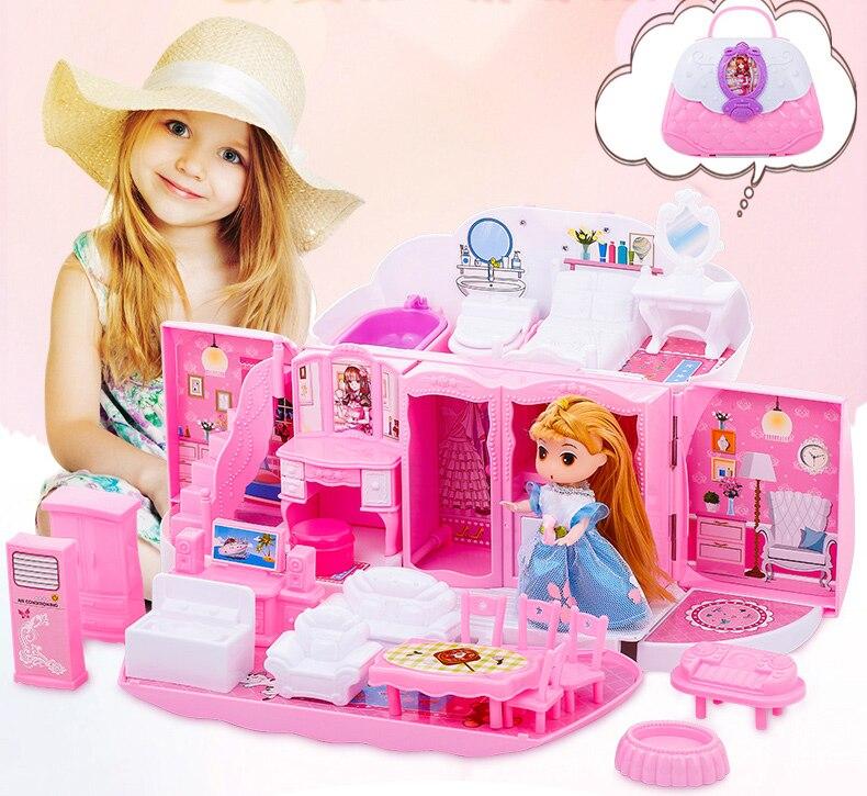 Bricolage maison de poupée maison de poupée jouets pliable cuisine chambre villa maison ont musique exquis sac à main pour enfants fille cadeaux d'anniversaire