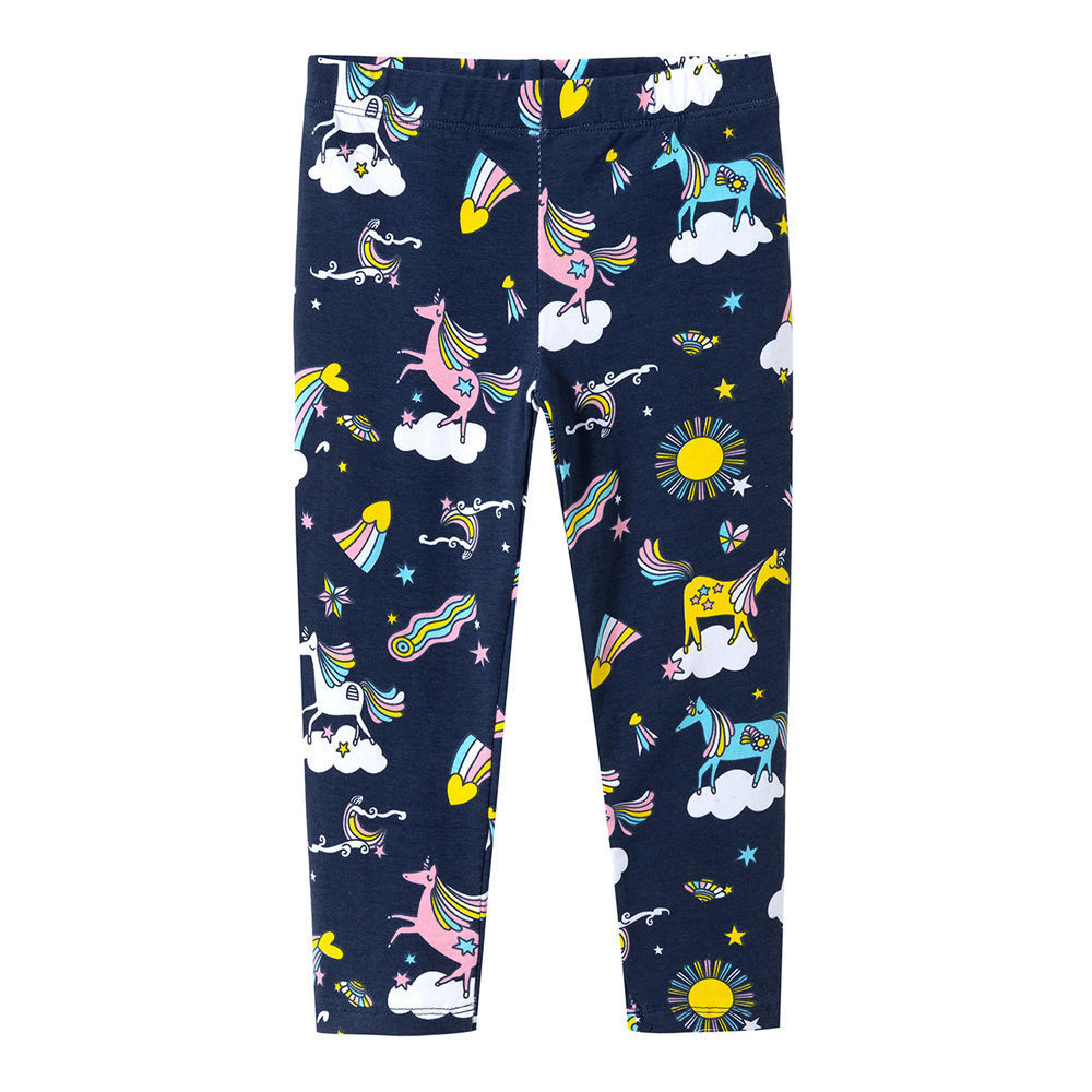 Littlemandy Unicorn Rainbow Printed Baby Girls Leggings Animal Kids 100% Cotton 2018 Brand Children Trousers Pants Clothes New jumping meters toddler girls leggings kids 100% cotton 2018 brand children trousers girls pants printed baby girls clothes