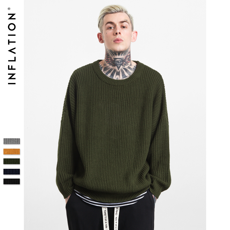 INFLATION 2017 New Pullover Oversized Men s Winter Fashion Sweater Knitted O neck Solid Color Casual