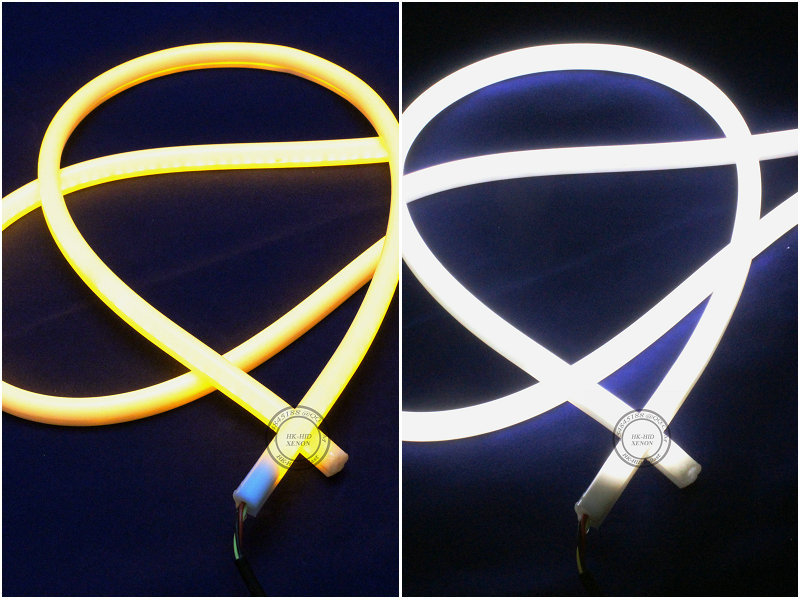 2x 60cm White+Amber /yellow Flexible Headlight daytime lamp Switchback Strip Angel Eye DRL Decorative Light with turn signal sunkia 45cm white red yellow blue white yellow flexible headlight daytime lamp switchback strip angel eye drl decorative light