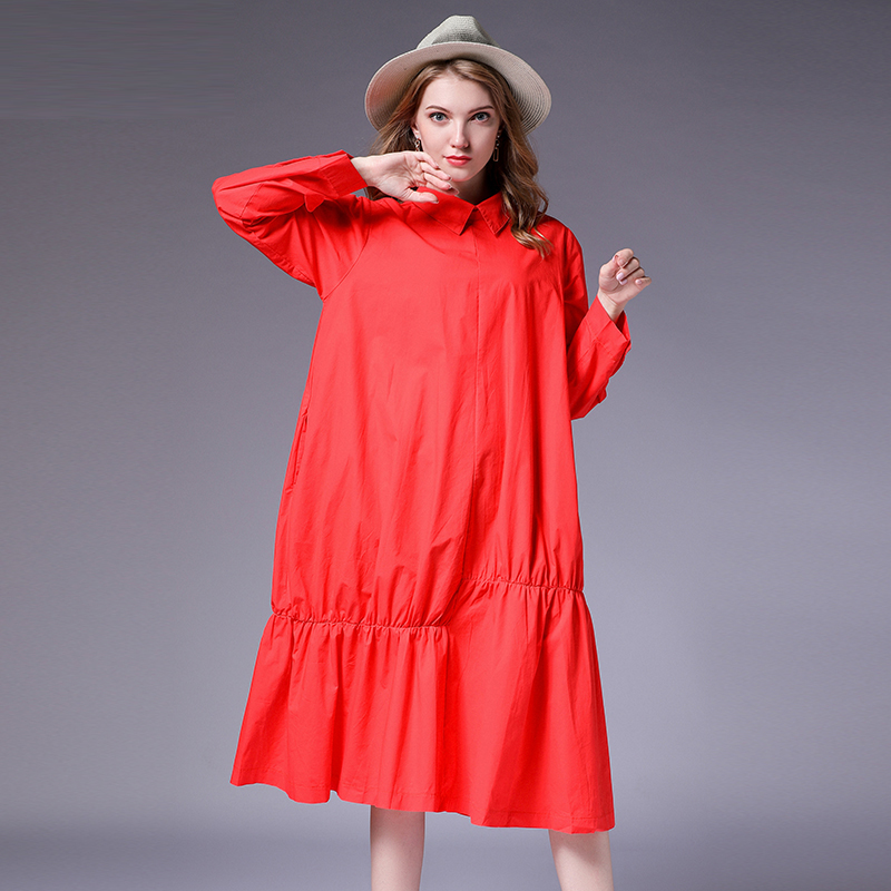 Women Plus size dresses loose Turn down collar Elegant dress High waist Big yards solid oversize cotton dress autumn new