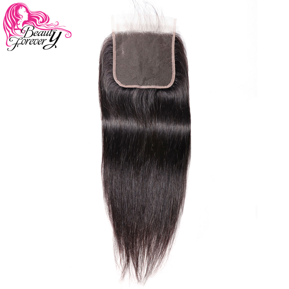 Beauty Forever Brazilian Straight Lace Closure 5 5 Free Part 100 Remy Human Hair 120 Density