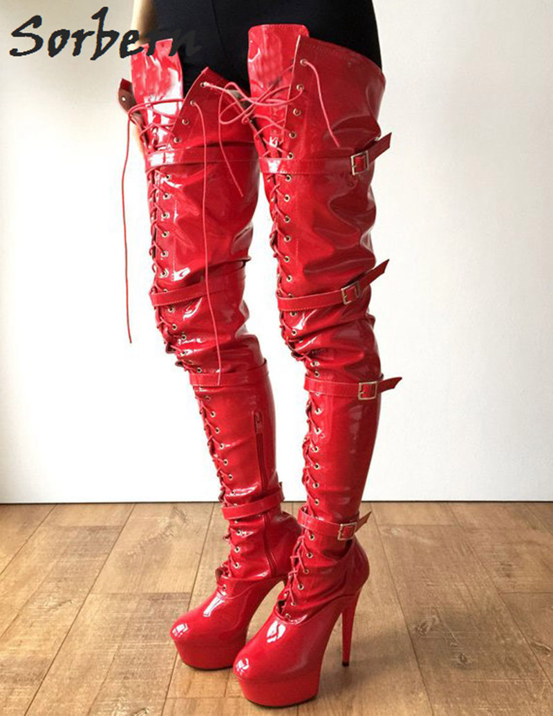 fe9b0c46f58 Sorbern Red Shiny 80Cm Crotch Thigh High Boots With Heels Custom Wide Calf  Boots For Women Big Size Heel Boot Size 11 Shoes - aliexpress.com - imall .com