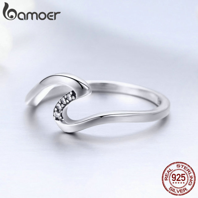 BAMOER Authentic 100% 925 Sterling Silver Geometric Wave Finger Rings for Women Wedding Engagement Jewelry Gift S925 SCR378 2
