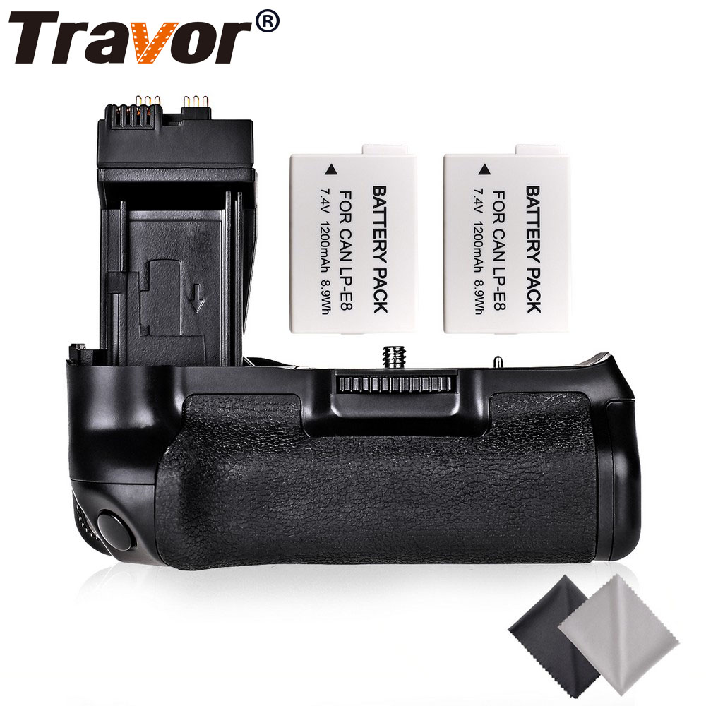 Travor Professional <font><b>Battery</b></font> <font><b>Grip</b></font> For <font><b>Canon</b></font> EOS 550D 600D Rebel T2i T3i T5i T4i DSLR Cameras as BG-E8+2pcs LP-E8+2pcs Lens Cloth image