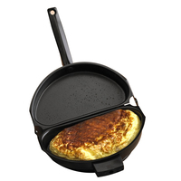 Unique Design Non stick Folding Omelette Pan Hand Frying Pan Stainless Iron Double Side Grill Pan 28.5*24cm Outdoor Panelas Pans
