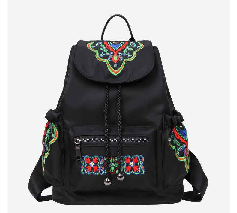 2018 New Spring and Summer Classic National Shoulder Bag Women Oxford Embroidery Backpack Ladies Travel Backpack