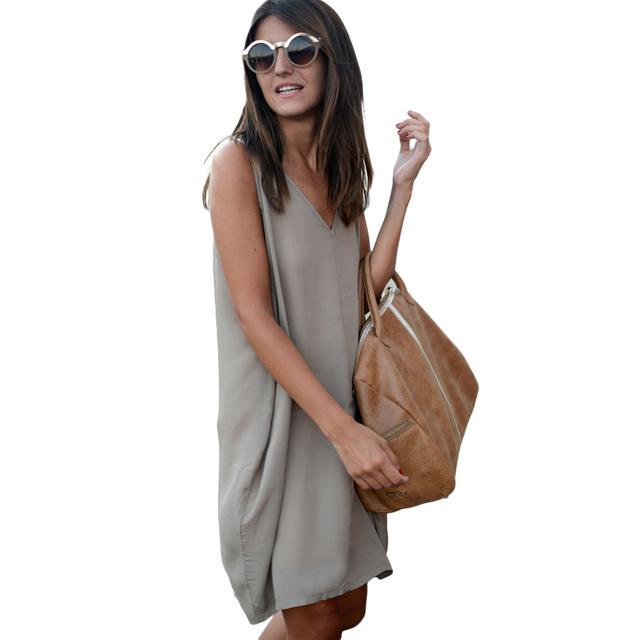 Asymmetric V Neck Loose Shift Dress