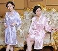 Бесплатная Доставка!!! китайский Стиль женская Вышивка Цветы Кимоно Банный Халат Ночь Халат Платье Юката