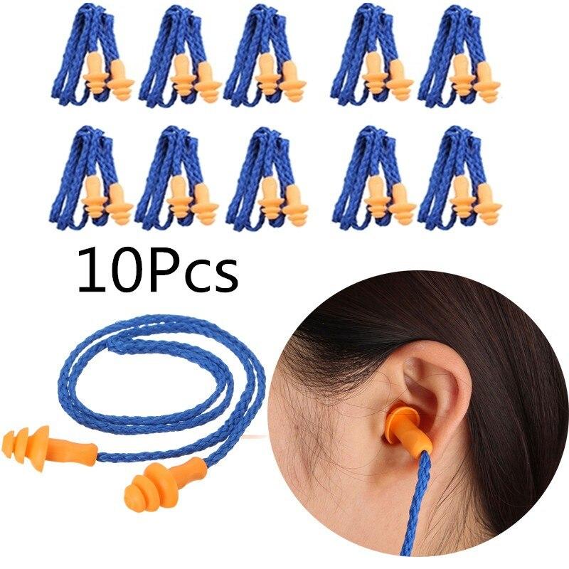 10Pcs Soft Silicone Corded Ear Plugs ears Protector Reusable Hearing Protection Noise Reduction Earplugs Earmuff