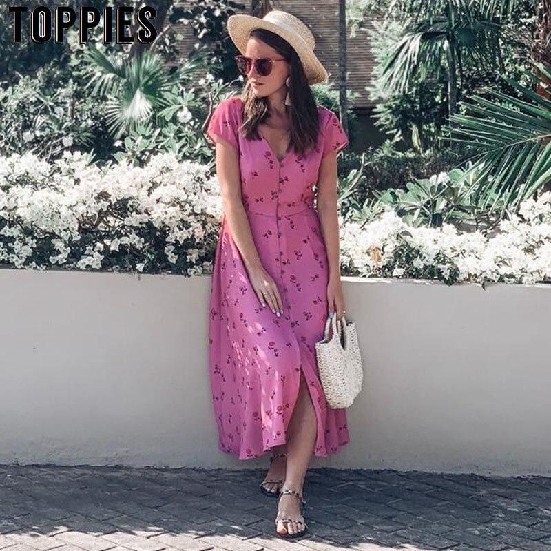 2019 sommer Rosa Urlaub Maxi Kleid Frauen Kurzarm A-linie Plissee Kleid Sexy Tiefe V Hals Druck vestidos