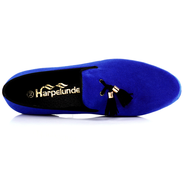 Harpelunde Mens Shoes Casual Blue Velvet Loafers Shoes Tassel Flats Free  Shipping Size 7-14 8fe0923dc3a8