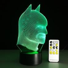 Remote Toutch Switch Batman 3D Night Light RGB Changeable Mood Lamp LED  Light Powerbank 3d Lamp