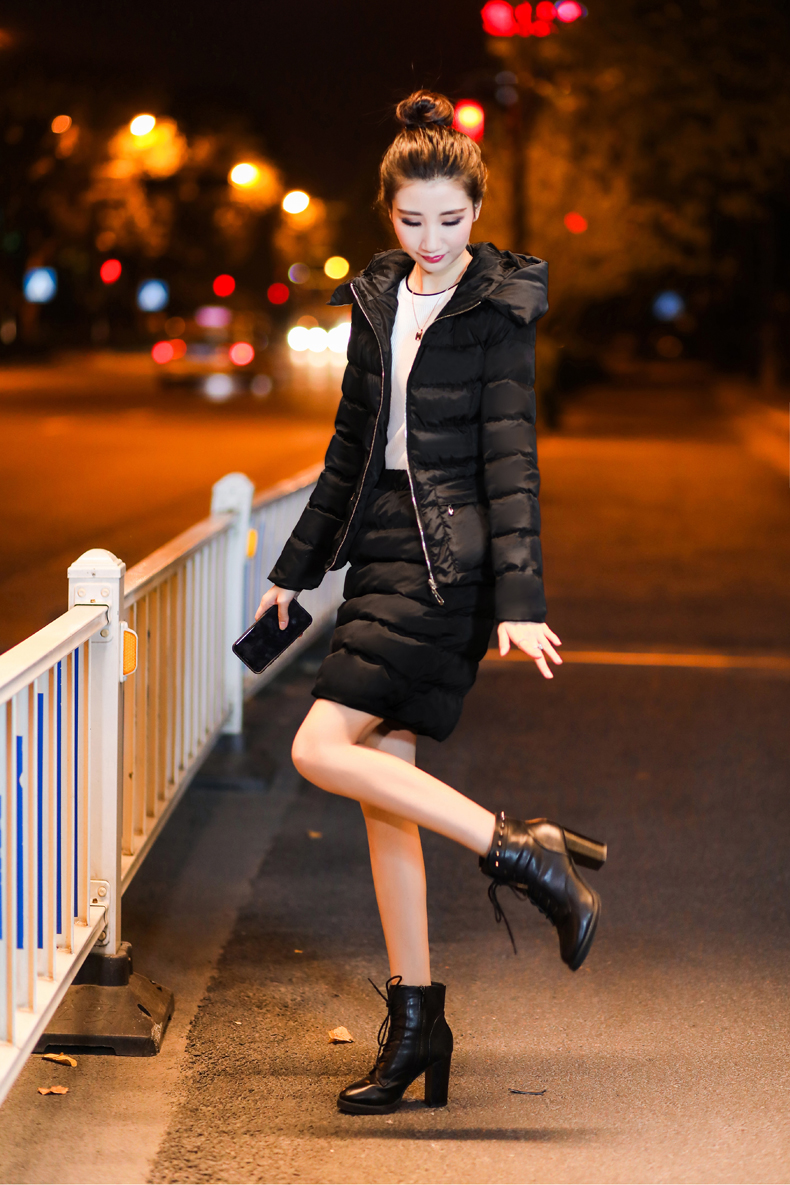 SexeMara Real Shot 2018 Winter New Down Cotton Suit Fashion Suit Female Small Fresh Warm Hooded Two-Piece Elegant Dress (13)