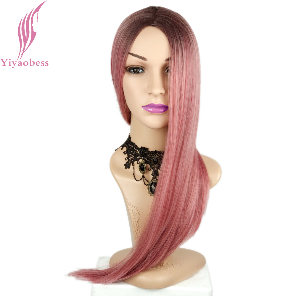 Yiyaobess 26inch Long Straight Pink Ombre Cosplay Wig Heat Resistant Synthetic Hair Wigs For Women High Temperature Fiber
