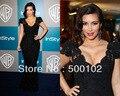 Kim Kardashian Mermaid Black Lace Evening Dress Cap Sleeve V-Neck  Golden Globes Party Gown
