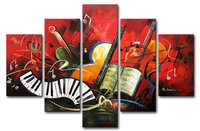 hand painted artwork The Music score High Q. Wall art Decor Landscape Oil Painting on canvas 5pcs/set Match framework