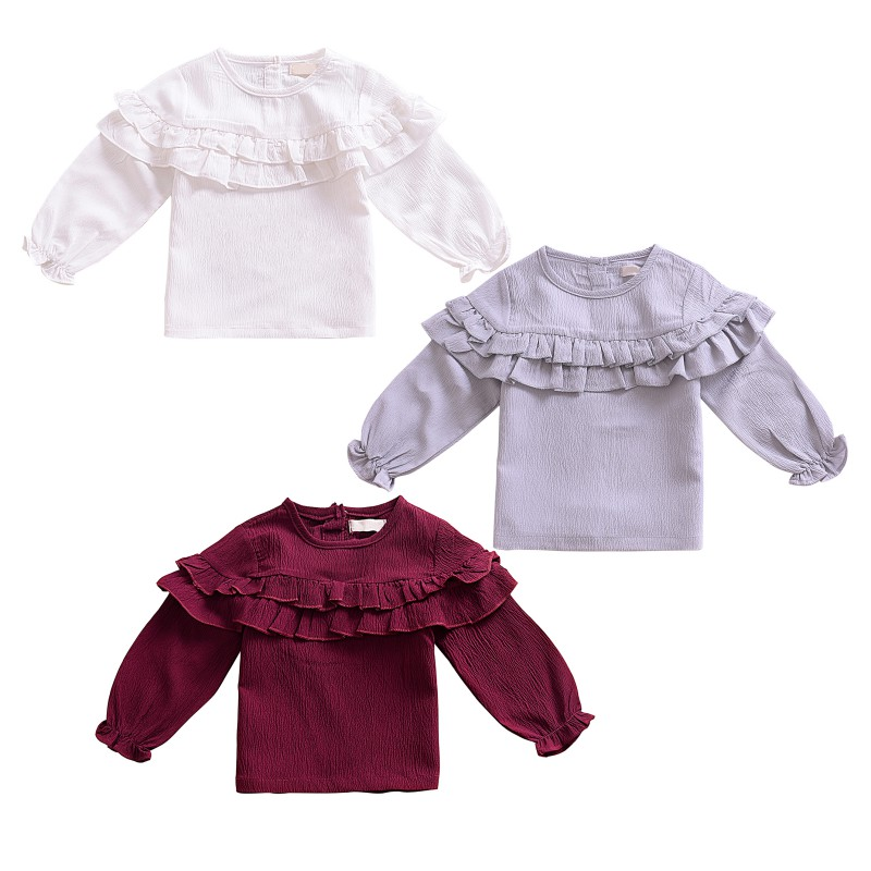 все цены на WEIXINBUY Baby Girl Cozy Cotton T-shirts for Babies Ruffle Collar Pure White Infant T Shirt Baby Girl Clothes