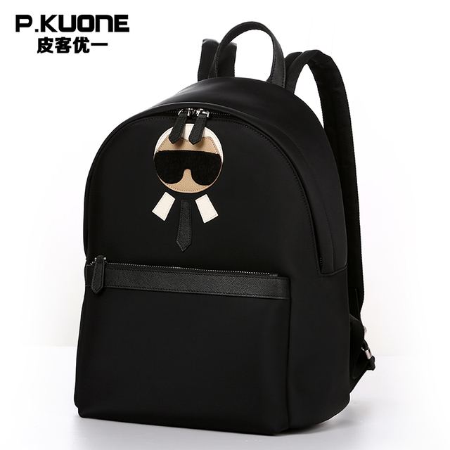 P.KUONE Feminine Canvas Backpack Man Famous Luxury Brand Male School Bag Designer Travel Schoolbag For Girl Satchel Shoulder Bag