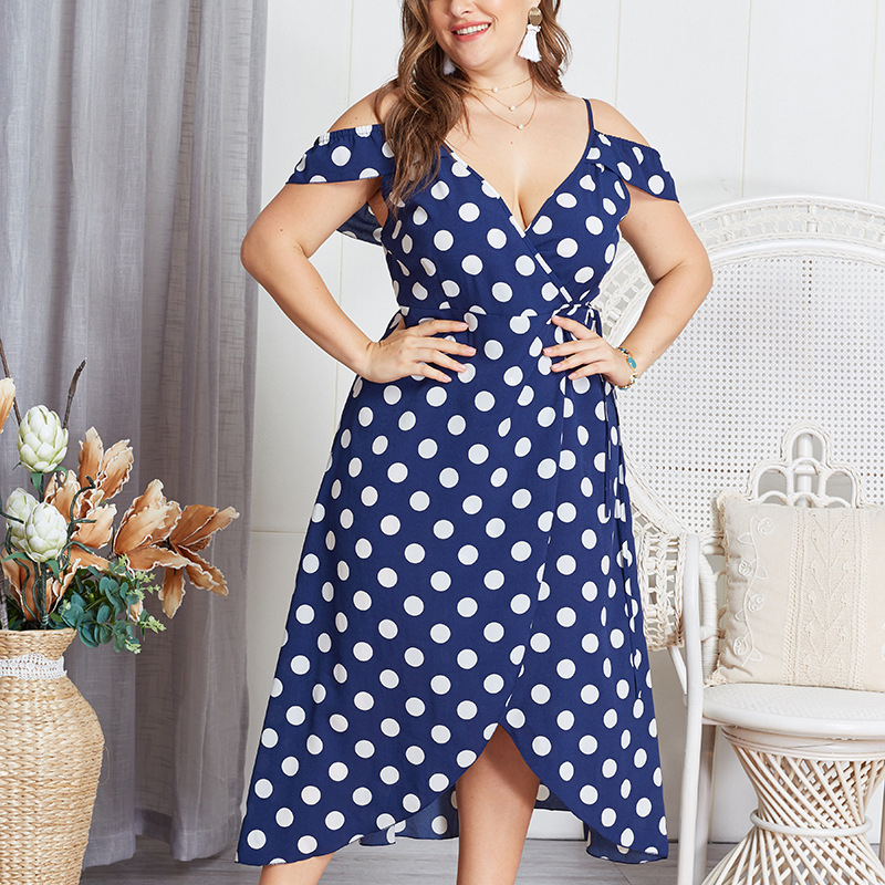 Plus Size Polka Dot Maxi Dress V Neck Backless Tunic Dress Lace Up Summer Vestidos Beach Boho Long Robe Off Shoulder Women Dress