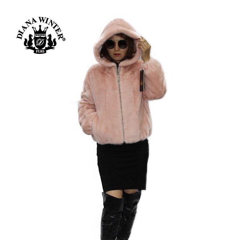 Veste fourrure vison manteau fourrure manteau femmes fourrure cuir mode vison veste DIANA hiver 2019