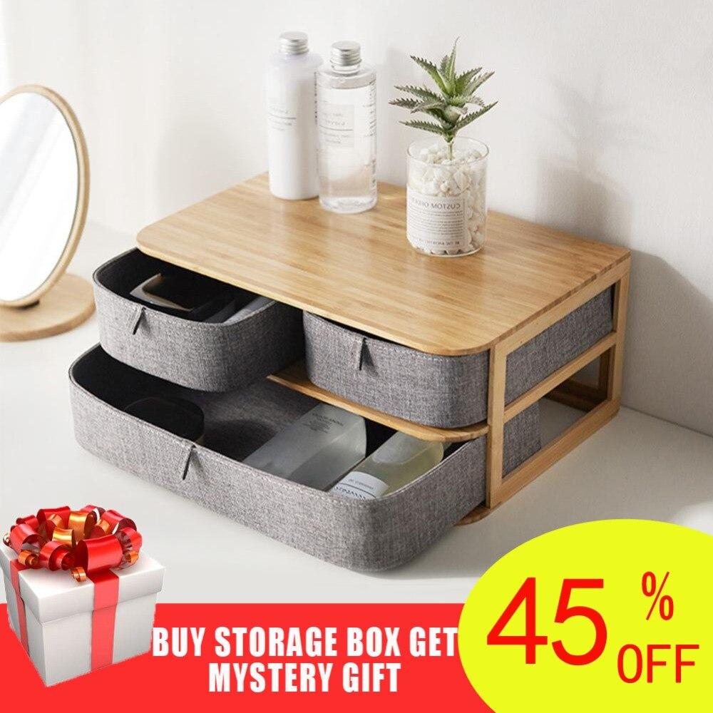 Multi-layer Drawer Type Bamboo Wood Desktop Storage Box Office Waterproof Storage Drawers Multi-layer Structure Home Storages drawer