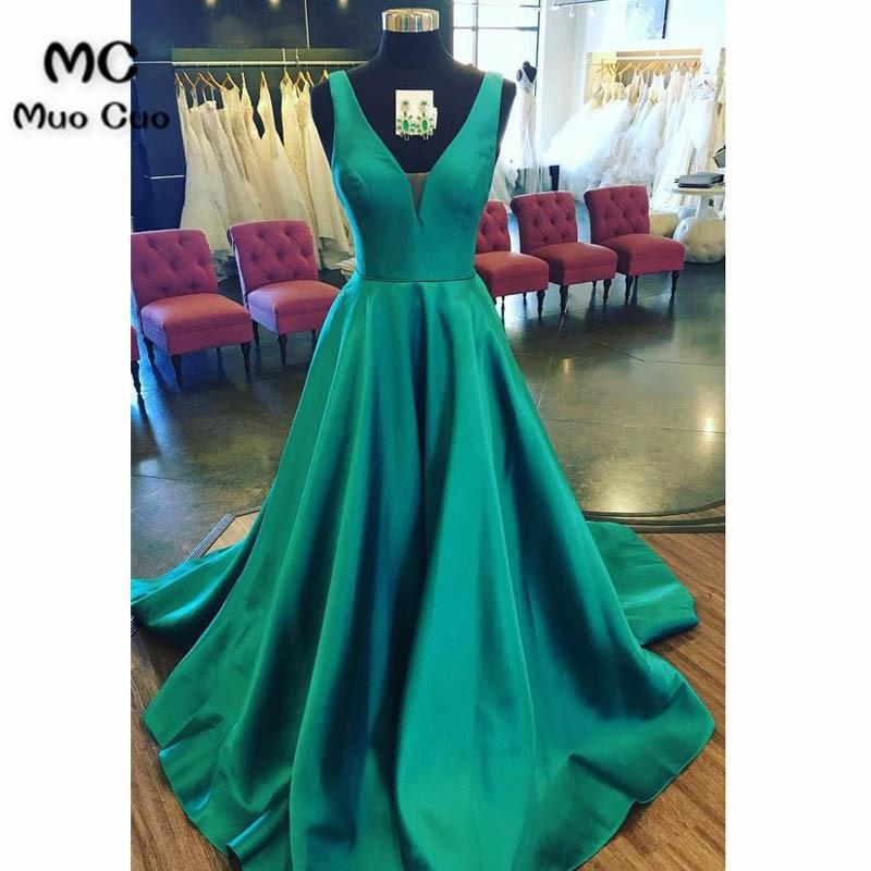 2018 sarcelle robes de bal longue profonde col en v balayage Train réservoir a-ligne robe formelle Aqua sarcelle soirée robe pour les femmes sur mesure