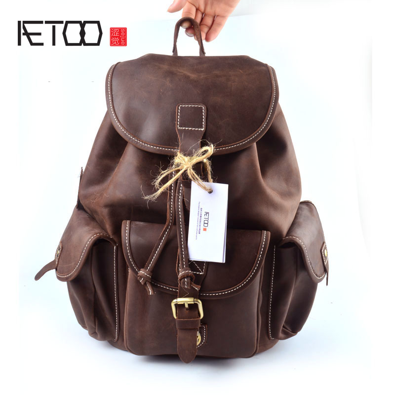 AETOO 100% genuine leather backpack men women vintage british style real leather crazy horse backpack casual daily backpacks real leather backpack 100