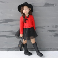 Baby Girl Clothes 2017 Girl Long Sleeves Dress Chinese Cheongsam Flower Dress Princess Children Clothing Christmas