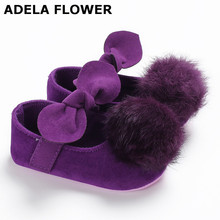 Купить с кэшбэком Adela Flower Cute Purple Plush and Bowknot Baby Shoes For Girls  0-18M Toddler Soft Princess Shoes Pram Shoes Infant Prewalker
