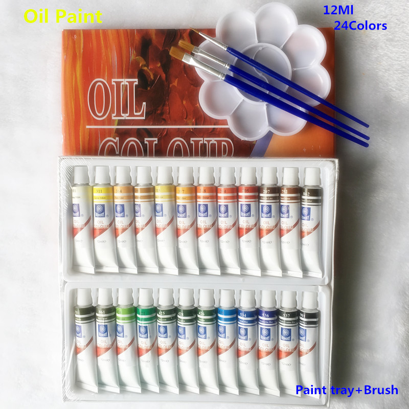 цена на Professional Oil Paint Canvas Pigment Art Supplies Paints Each Tube Drawing 12 ML 24 Colors Set Free For Brush And Paint Tray