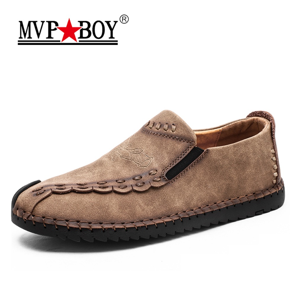 MVP BOY 2018 Handmade Leather Shoes Casual Men Shoes Fashion Men Flats Exquisite Design Non-slip Comfortable Men Casual Shoes