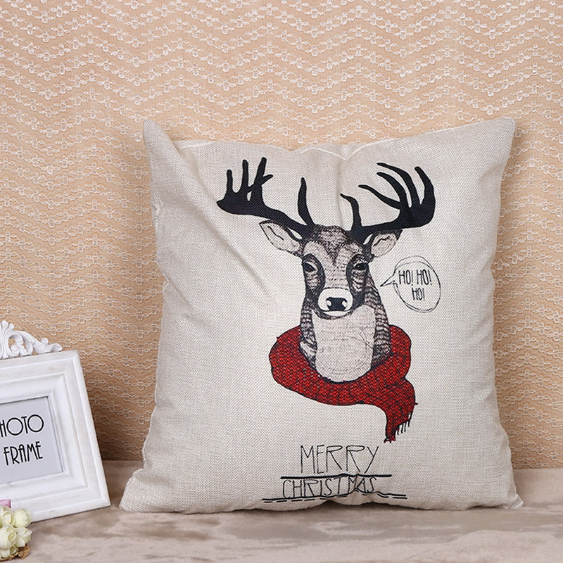 Deer wear Scarf Cushion Covers Pillow Covers Pillow Case Throw Pillowcase 45X45cm Bedroom Sofa Decoration Home Decor F