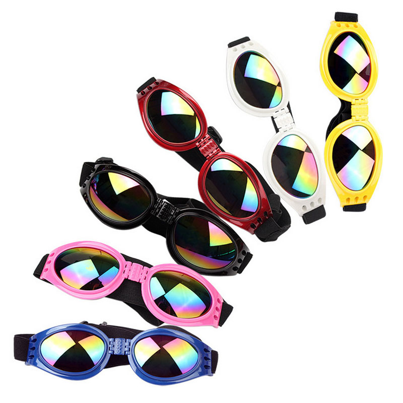 aa47392d4ba1c Filhote de Cachorro moda Pet Dog óculos de Sol Cinto Elástico Ajustável  Óculos Eye Usar Óculos de Proteção