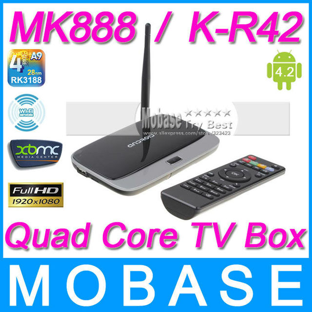 MK888 (K-R42/CS918) Android 4.2 TV Box RK3188 Quad Core Mini PC RJ-45 USB WiFi XBMC Smart TV Media Player with Remote Controller