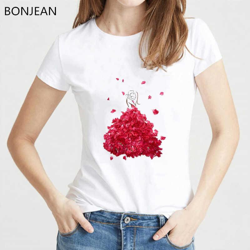 Fashion illustration von blumen kleider und mädchen design vogue t hemd frauen kawaii top weibliche ziemlich lustig t-shirt neuheit t
