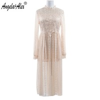 Angela Alex Ladies Emboridery Princess Dress High Quality Long Sleeve Lace Dress Sexy Hollow Out Women