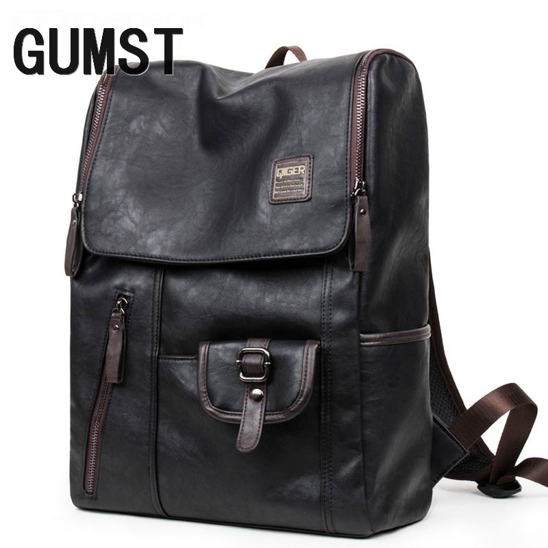 GUMST High Quality PU Leather Mens Backpack Famous Brand Cas